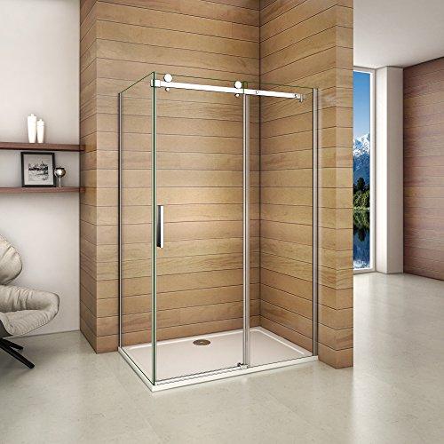 120x195cm Dusche Schiebetür Duschabtrennung Duschkabine 6mm Klarglas ohne Duschtasse mit Seitewand 80cm