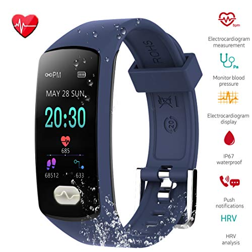 Fitness Tracker, ZEERKEER Activity Tracker with ECG PPG Blood Pressure Sleep Monitor,Heart Rate IP67 Waterproof Bluetooth Smart Bracelet , Smart Watch for Men, Women and Kids(Blue)