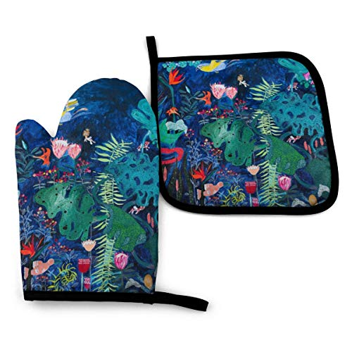 Oven Mitts and Pot Holders,Brightly Rainbow Tropical Jungle Mural With Birds And Tiny Cats Advanced Heat Resistant Oven Mitts,Non-Slip Textured Grip Potholders for Cooking Grilling Baking