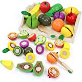 yoptote Fruits et Légumes Jouets Ustensile Cuisine en Bois Enfant Fruits à Couper en Bois et Lègumes à Découper Motricité Fine Jeu de Jouets de Coupe de Légumes en Bois pour Enfants Cadeau 3 4 5 Ans
