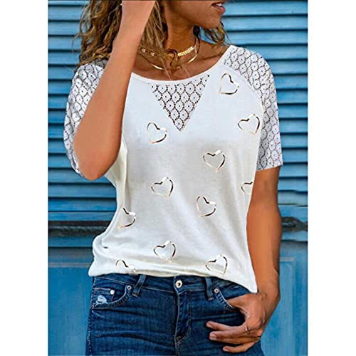 UKKO Camisetas Mujer Camisa De Impresión del Corazón Verano Lace De Mujer Costura Hueca De Manga Corta Top Casual Color Redondo Tshirt Ropa Más Tamaño-White,XL,China