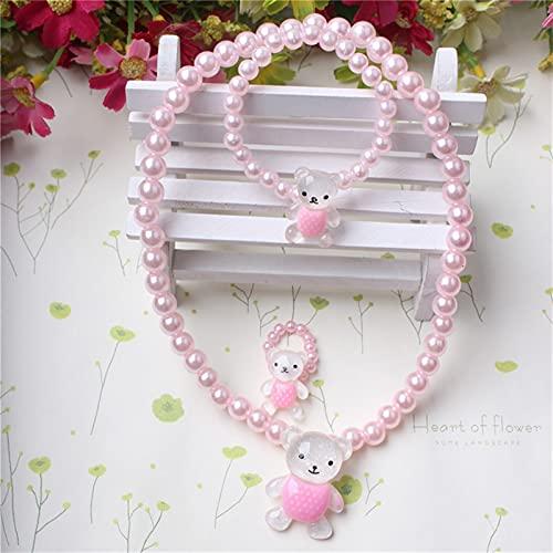 yqs Conjunto de Joyas Collar con Cuentas de Perlas Conjunto de Dibujos Animados Conejo Colgante Colgante Collar (Metal Color : Pink Bear Set)