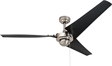 """Prominence Home 50330 Industrial Ceiling Fan, Almadale 56"""" Energy Efficient Black Matte Blades, Easy Install System, Brushed Nickel"""