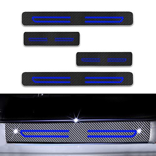 4D Carbon Einstiegsleisten Folie, Lackschutzfolie Selbstklebend, Lackschutz Aufkleber für Citigo Kodiaq Fabia Rapid Octavia Yeti Superb Blau 4 Stück