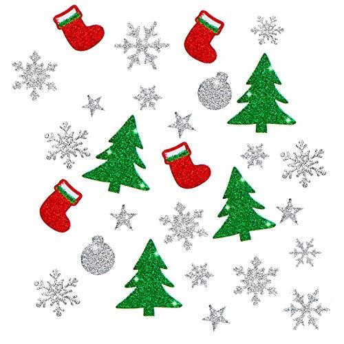 Weihnachts Sticker, 10 PCS Weihnachten Glitzer Stickers, Selbstklebende Weihnachtsdeko Geschenk Aufkleber, Weinachten Tannenbaum Stiefel Schneeflocke Stern Weinachtskugeln