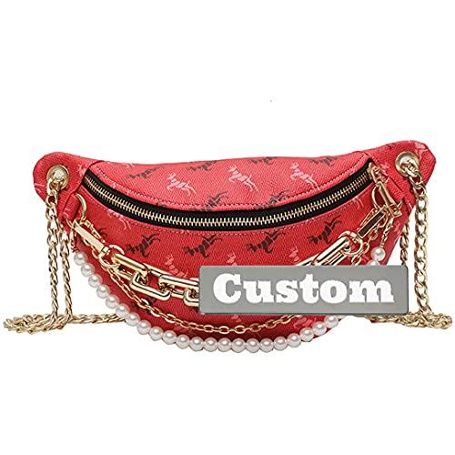 Personalizado Nombre personalizado Men Sling Cuerda Bolsa de hombro Lightweight Daypack Mujeres Mini Hombres (Color : Red, Size : One size)