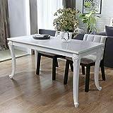 vidaXL Mesa de Salón Comedor Rectangular Clásica MDF Blanco Brillante Mueble