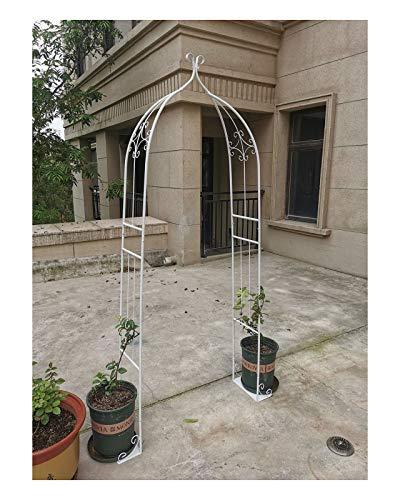 HLMBQ Blanco Arco para Rosas y Plantas trepadoras,Arcos de Jardín Enrejado Soporte De Flores,Metal pulverizado 205x30x80cm para Exterior Eventos decoración