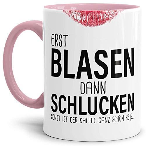 CCMugshop Keramische Kaffeetasse mit Spruch Sexy Lippen Tasse Becher Erst Blasen dann Schlucken. Zweideutig Büro Kollegin Witzig Innen&Henkel Geschenk Cup Mug