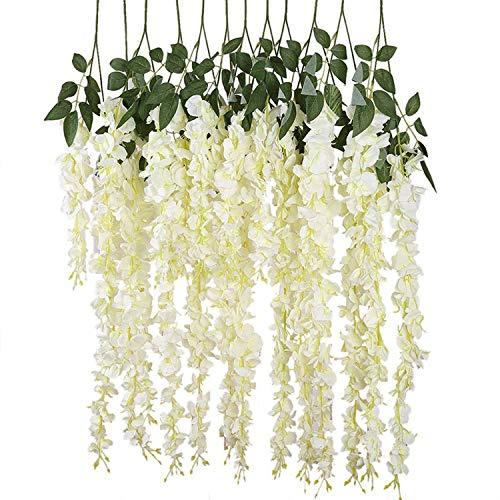 Guirnalda de flores artificiales, 97 cm, 12 unidades, diseño de glicinas artificiales para decoración de boda, ratán, seda, cerezo, hojas falsas, para el hogar y el jardín, Blanco, Blanco