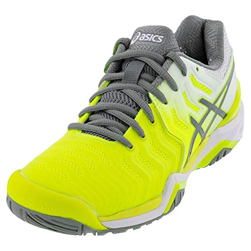 ASICS Women's Gel-Resolution 7 Tennis Shoes, 5M, Safety Yellow/Stone Grey