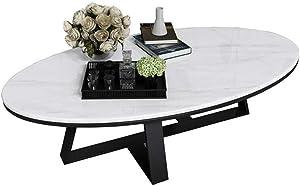 YIKE-Tavolini da caffè Tavolino Ovale da Salotto di Piccole Dimensioni, Piano in Marmo Bianco, Struttura in Ferro battuto Massiccio, Adatto per arredo Camera Modello (100 × 60 × 45 cm)