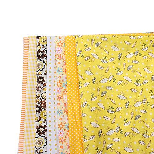 NA youuu Baumwolltuch, 7 Stück 25x25cm Kleines Blumen-Baumwoll-Patchwork, Taschenpuppe DIY Sewing Plain Weave Gelb