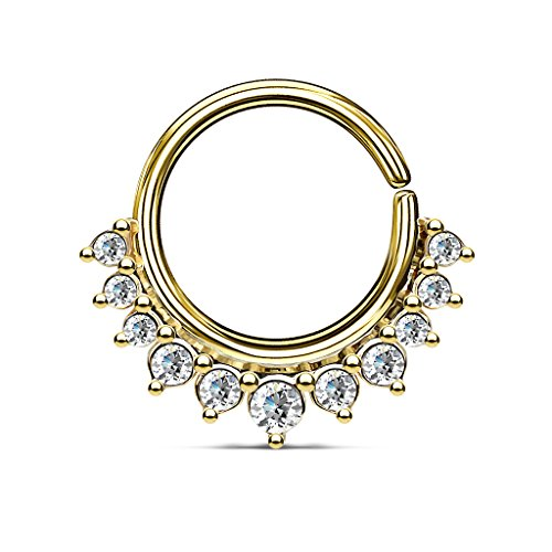 Crystal Paved Half Circle Bendable Hoop Ring by Pierced Owl