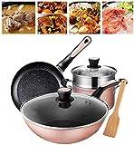 YZ-YUAN Home Juego de Utensilios de Cocina de 4 Piezas, Juego de ollas y sartenes Simply, ollas y sartenes de Aluminio Duradero con Pala de Madera para Restaurante en casa