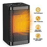 Radiateur électrique Portatif Qoosea Mini pour le Bureau à Domicile 1500W Ventilateur Chauffant Rapide et Silencieux avec Thermostat Réglable Radiateur en Céramique de Bureau
