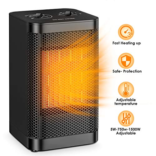 Portable Space Heater Office Ceramic 1500W / 750W Ninonly Small Space Heater Oscillating Instant Heating Tower Heater Adjustable Perfect For the Home Indoor Heater Oscillating Space