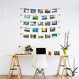 Exquis Family - Cornice portafoto da parete con corda porta foto con colore legno naturale, 30 piccole pinze, decorazione della casa, regalo matrimonio e compleanno