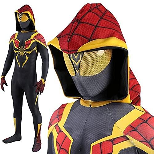 MIANslippers Niños Spiderman Halloween Cosplay Traje Superhéroe Vestido de Lujo Onesuit Carnaval Flexible Papel Juego Body Cumpleaños Mono de Cumpleaños,Yellow-Kids(95~115cm)
