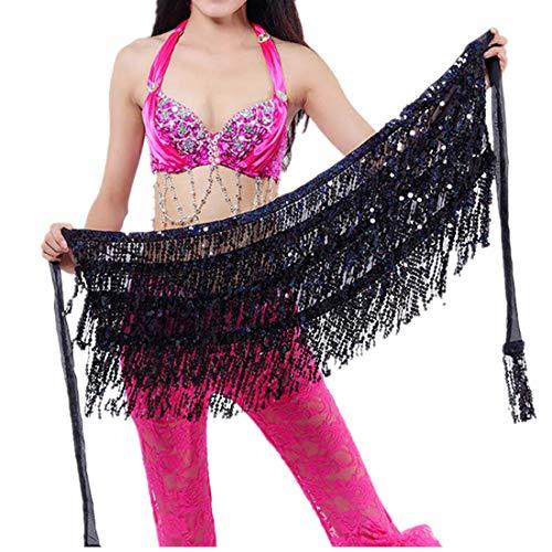 SHINEHUA Damen Pailletten Bauchtanz Minirock Bauchtänzerin Kostüm Glänzt Tassel Latin Dance kostüm Hip Scarf Wrap Sequins Gürtel