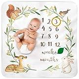 BUBZI CO Couverture Bébé Monthly Milestone I Lit Enfant Aquarelle Forêt Crèche...