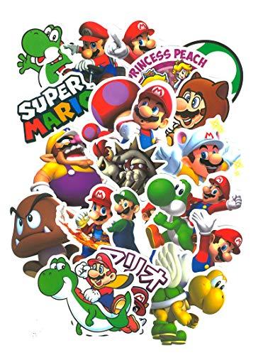 Top Aufkleber ! Set von 99 Super Mario Bros Aufkleber Premium Qualität - Vinyls Stickers Nicht Vulgär – Luigi, Toad, Peach, Wario, Browser - Anpassung Laptop, Gepäck, Moto, Fahrrad, Skate