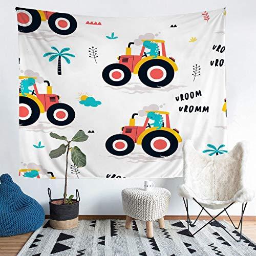 Dibujos animados construcción excavadora pared vehículos colgantes camión impresión Tapiz para niños niños adolescentes decoración pared manta linda ropa de cama manta manta tamaño mediano 128 x 159