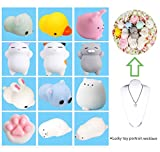 12 Pcs Mignon chat squishy anti stress squishy slow rising toys squeeze jouet jouets de soulagement du stress+1 Collier