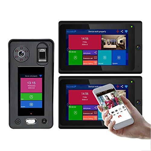 Timbre de video inalámbrico WiFi, kit de intercomunicador de videoportero bidireccional de 7 pulgadas, cámara 1080P Huellas digitales Reconocimiento facial Desbloqueo