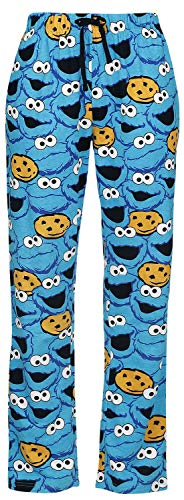 Barrio Sesamo El Monstruo de Las Galletas - Face Mujer Pantalón de Pijama Azul 3XL, 100% algodón,