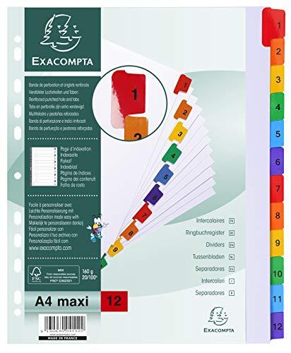 Exacompta - Réf. 4112E - Intercalaires en carte blanche 160g/m2 FSC® avec 12 onglets imprimés numériques de 1 à 12 en couleur - Page d'indexation imprimable - Format à classer A4 maxi