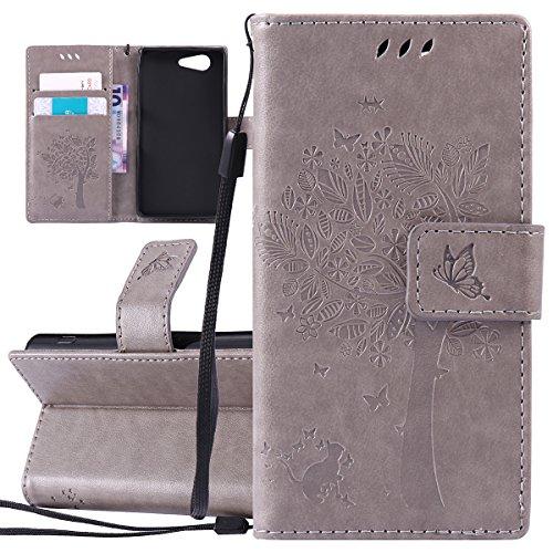 ISAKEN Compatibile con Sony Xperia Z3 Mini Custodia, Libro Flip Cover Portafoglio Wallet Case Albero Design in Pelle PU Protezione Caso con Supporto di Stand/Carte Slot/Chiusura - Grigio