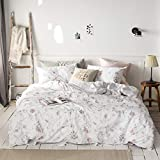 MICBRIDAL Queen Duvet Cover Floral Bedding Set(1 Floral Duvet Cover+2 Pillowcases) Soft 100% Cotton White Bedding Duvet Cover with Zipper Garden Style Chic Pink Floral Comforter Set(NO Comforter)