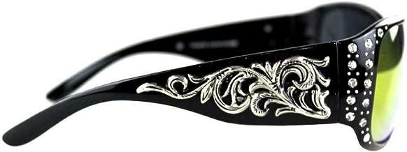 Montana West Filigree Swirl Scroll Rhinestone Girls Womens Sunglasses (Black)