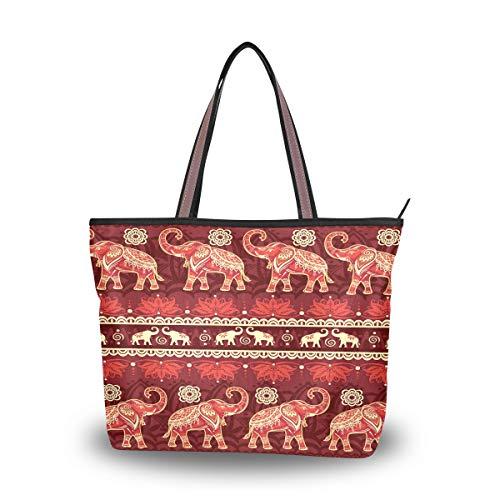 Bigjoke afrikanische Elefanten-Handtaschen für Frauen, Tragetasche, Top-Griff, Schultertasche, Umhängetasche, Geldbörse, Mehrfarbig - mehrfarbig - Größe: Medium