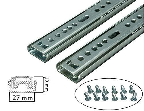 BRESKO 1 Paar (2 Stk.) 27 mm Schubladenschienen 25-55 cm Teilauszug Schubladenauszüge Kugelführung (30 cm)