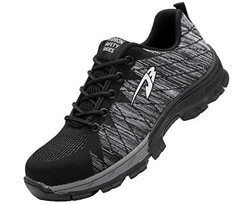 Zapatillas de Seguridad Hombre Zapatos de Mujer Antideslizante Transpirable Zapatos de Trabajo Calzado de Trabajo Ultra Liviano Suave y Cómodo Deportes Unisex, A Gris, 45 EU