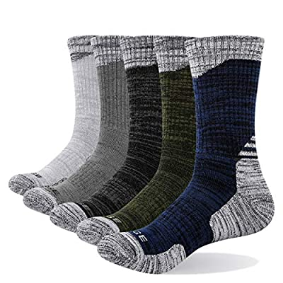 YUEDGE Men's 5 Pairs/Pack Work Boot Outdoor Sports Athletic Walking Hiking Socks Performance Padded Moisture Wicking Cotton Cushion Crew Socks(X-Large)