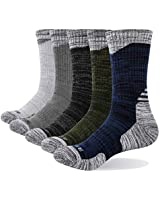 YUEDGE Men's Cotton Cushion Crew Socks Performance Athletic Hiking Socks (5 Pairs/Pack XL)