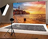 Cityscape 10x8 FT Vinyl Photography Backdrop,Sunset at Rovinj Adriatic Sea Coast of Croatia Romantic Evening Scenery Print Background for Baby Birthday Party Wedding Studio Props Photography
