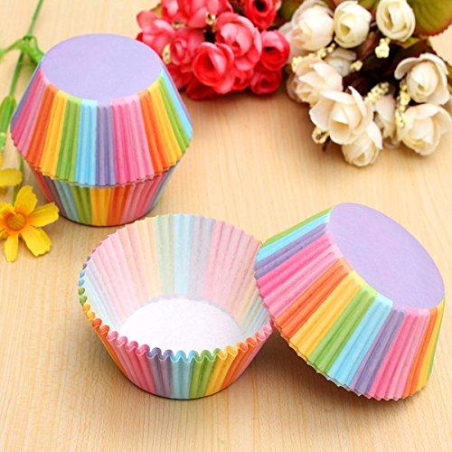 Bluelover 100Pcs Colorée Arc-en-Ciel Papier Cupcake Muffin Cup Cake Wedding Party Outil De Cuisson