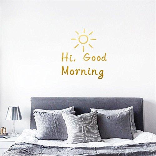 Sticker Vent Nordique Ins Chambre à Coucher Autocollant Mural Good Morning Good Morning Anglais Autocollants DéCoration 40 X 42 Cm Noir