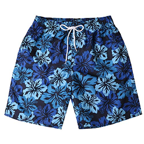 Yowablo Badehose Badeshorts für Herren Beachshorts Boardshorts Strand Shorts Trainingshose Mode Persönlichkeit lässig Blumendruck (XL,2Blau)