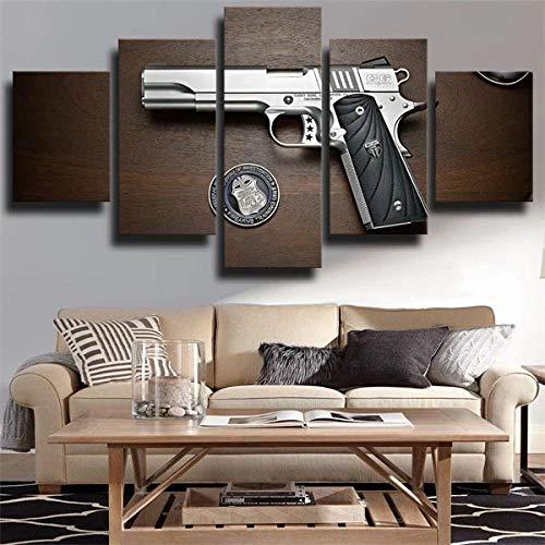 GHYTR 5 Piezas Cuadro sobre Lienzo De Fotos Pistola Pistola Cabot Marron Lienzo Impresión Cuadros Decoracion Salon Grandes Cuadros para Dormitorios Modernos Mural Pared 5 Partes Carteles Regalo