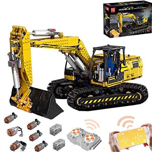 Foxcm Technic - Excavadora Motorizada con Control Remoto y 6 Motor, Juegos de construcción, 1830 Bloques - Compatible con Lego Technic