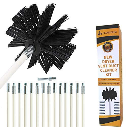 Dryer Vent Cleaning Brush20Feet Highly Effective Lint Remover Reusable Strong and Flexible Lint Brush with Bonus Drill Adapter Included for Faster Lint Removal Use with Or Without Drill