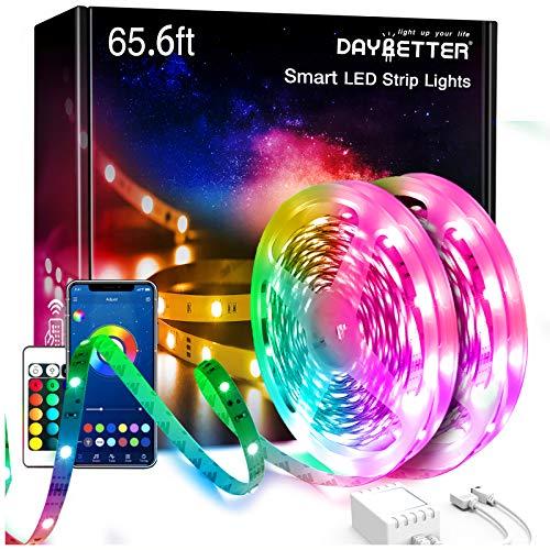 65.6ft Daybetter Smart App Led Lights,2 Rolls of 32.8ft Led Strip Lights Kits with Remote, App Control Timer Schedule Led Music Strip Lights,Color Changing Sync Led Lights for Bedroom