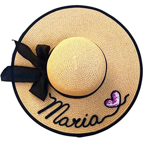 BODELEI Pamela de Playa Personalizada con Nombre Hecho a Mano. Sombrero de Mujer. Despedidas de...