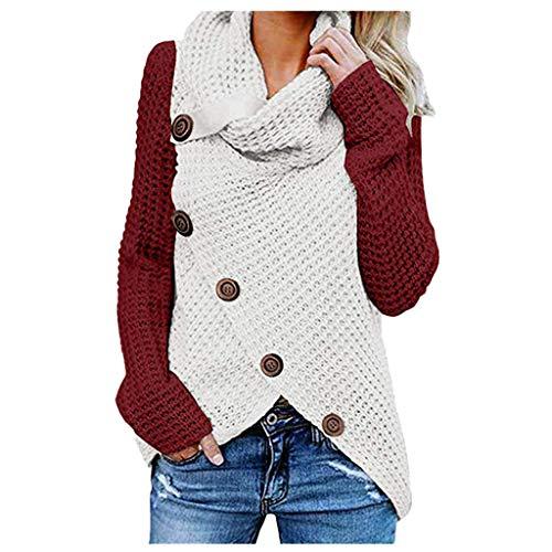 iHENGH Damen Herbst Winter Übergangs Warm Bequem Slim Lässig Stilvoll Frauen Langarm Solid Sweatshirt Pullover Tops Bluse Shirt(A Wein, XL)