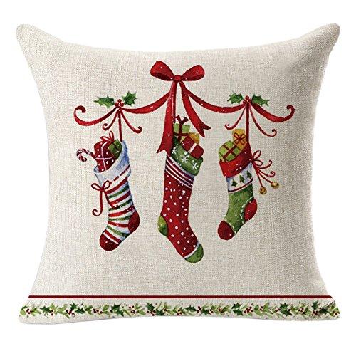WARMWORD_Navidad Fundas Cojines 45x45,Patrón de Calcetín de Navidad Almohada Decorativo Navidad Decoracion para Hogar Casa Sofa Jardin Cama Lino Throw Pillow Case Funda de Almohada para Cojín